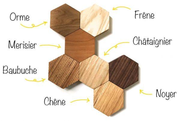 Essences de bois pour votre projet sur mesure, décoration, dessous de verre et dessous de plat